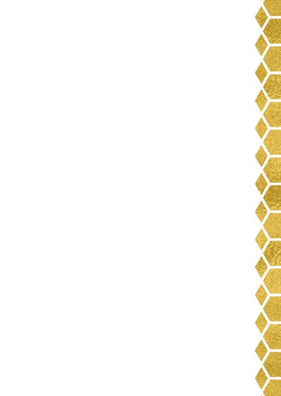 Kerstverhuiskaart goud honingraat en foto huis Achterkant