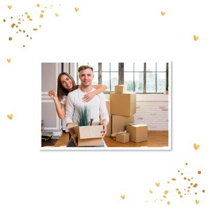 Kerstverhuiskaart huisjes goudlook confetti 2