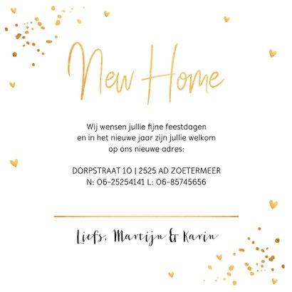 Kerstverhuiskaart huisjes goudlook confetti 3