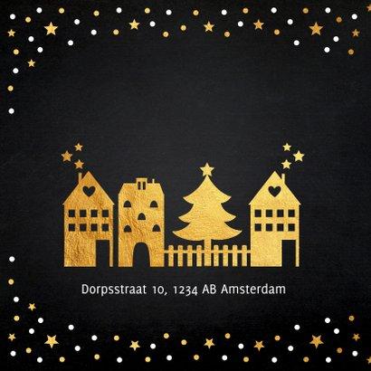 Kerstverhuiskaart huisjes goudlook 2