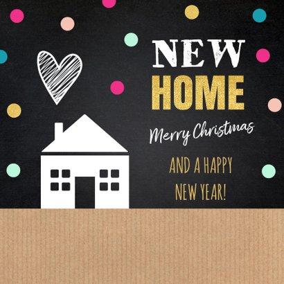 Kerstverhuiskaart label huis kraft krijtbord stippen 2