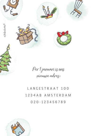 Kerstverhuiskaart met volkswagenbusje en kerstboom op dak 2
