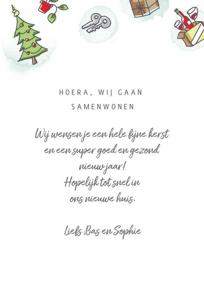 Kerstverhuiskaart met volkswagenbusje en kerstboom op dak 3