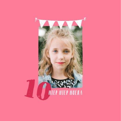 Kinderfeest tiener uitnodiging meisje stoer en hip met foto 2