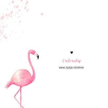 Kinderfeest uitnodiging roze met flamingo en spetters 2