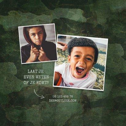 Kinderfeestje army stoer met foto en legerplaatje 2