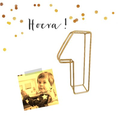 Kinderfeestje collagekaart met draad goud 1 2