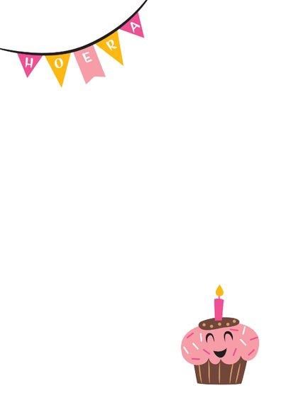Kinderfeestje cupcake meisje Achterkant