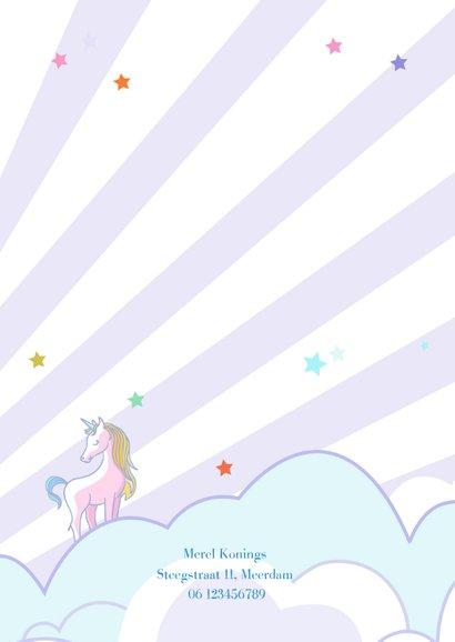 Kinderfeestje eenhoorn in de wolken 2