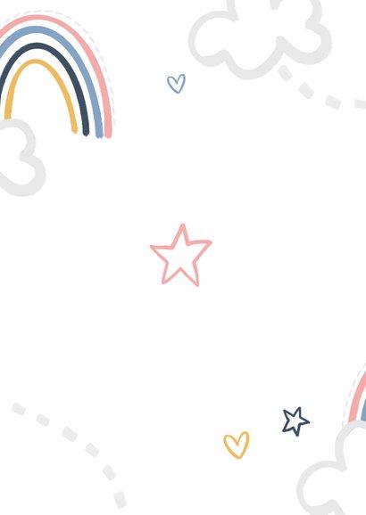 Kinderfeestje eerste verjaardag peuter regenboog wolken ster Achterkant