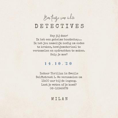 Kinderfeestje escaperoom mysterie detective uitnodiging 3