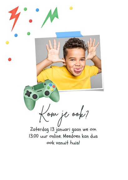 Kinderfeestje gamen controller bliksem confetti foto 2