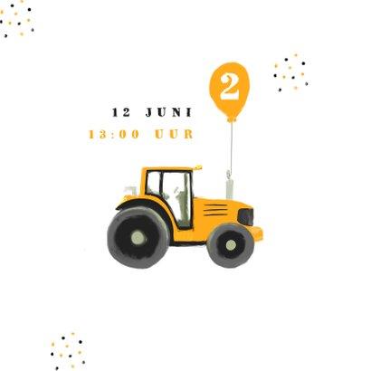 Kinderfeestje hippe uitnodiging tractor confetti foto  2