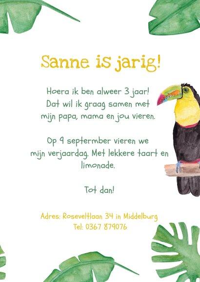 Kinderfeestje kaart met toekans voor jungle thema feest! 3