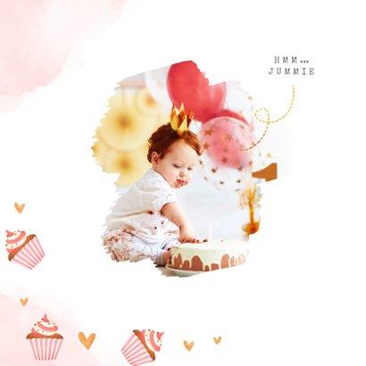 Kinderfeestje meisje hip cupcakes foto cake smash hartjes 2