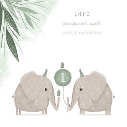 Kinderfeestje olifant tweeling met vogeltjes en ballon 2