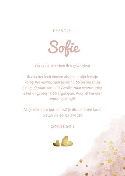 Kinderfeestje roze met foto, gouden hartjes en waterverf 3