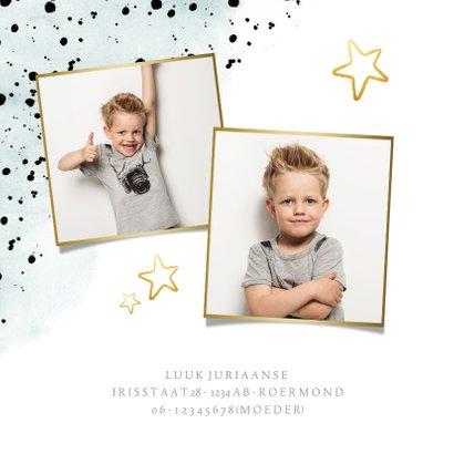 Kinderfeestje stoere uitnodiging met verfspetters en goud 2