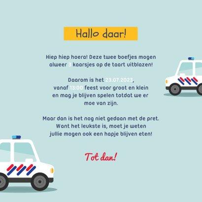 Kinderfeestje tweeling politieauto's foto's vrolijk 3