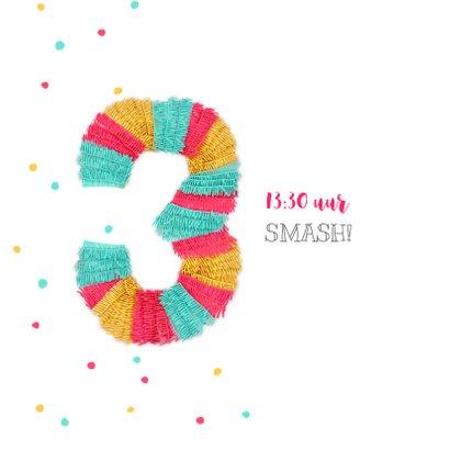 Kinderfeestje uitnodiging 3 jaar feestelijk met piñata  2