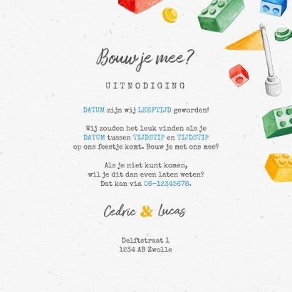 Kinderfeestje uitnodiging bouwen activiteit lego  3