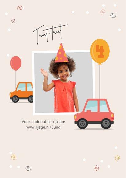 Kinderfeestje uitnodiging drive in auto stoet parade foto 2
