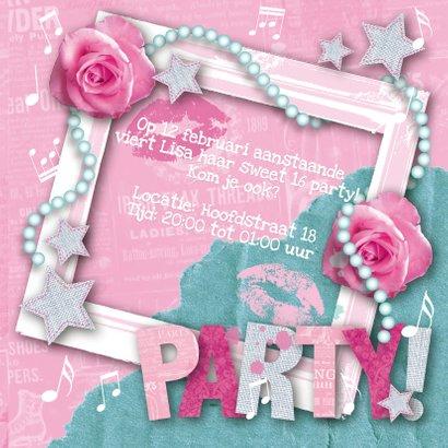 Kinderfeestje uitnodiging foto rozen sterren 3