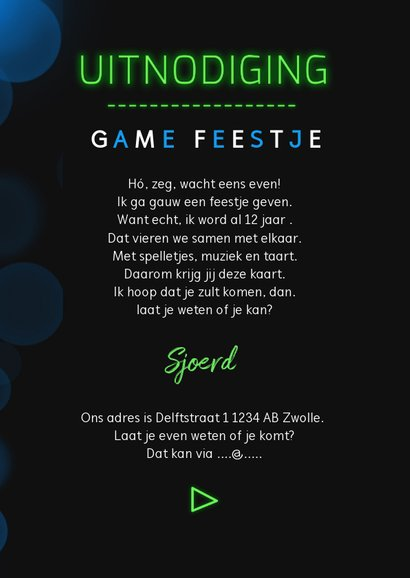 Kinderfeestje uitnodiging game party neon  3