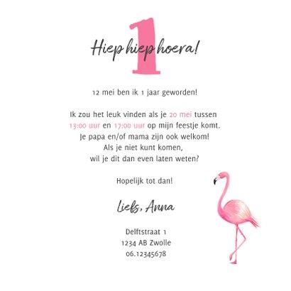 Kinderfeestje uitnodiging hip met flamingo en bloemen 3