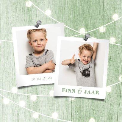 Kinderfeestje uitnodiging houtlook groen lampjes met foto 2