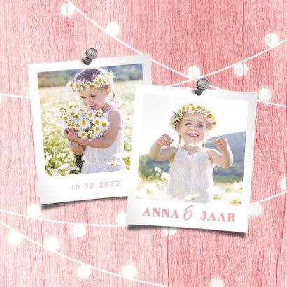 Kinderfeestje uitnodiging houtlook roze lampjes met foto 2