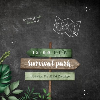 Kinderfeestje uitnodiging jungle wegwijzers krijt 2
