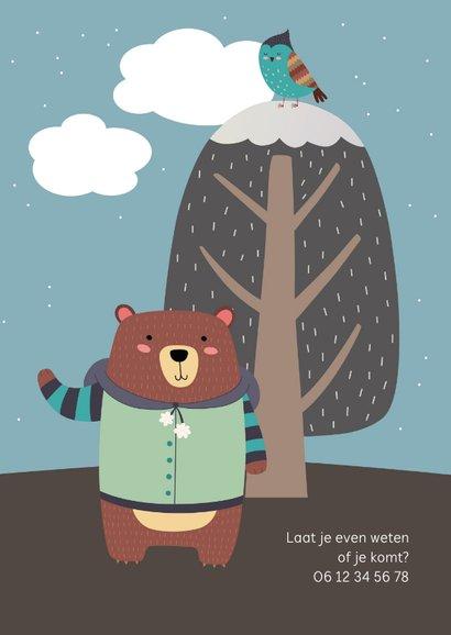 Kinderfeestje uitnodiging kleine beer winter 2
