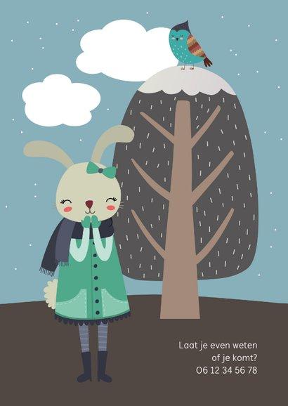 Kinderfeestje uitnodiging konijn meisje winter 2