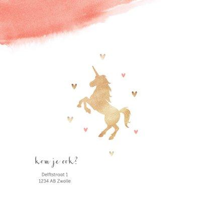 Kinderfeestje uitnodiging lief roze met hartjes en eenhoorn 2