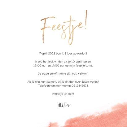 Kinderfeestje uitnodiging lief roze met hartjes en eenhoorn 3