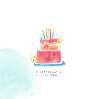 Kinderfeestje uitnodiging meisje hip met taart illustratie 2