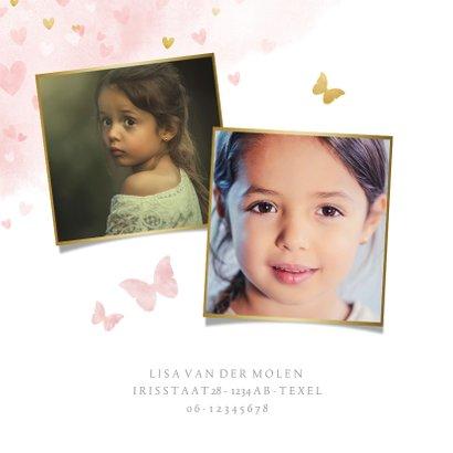 Kinderfeestje uitnodiging meisje met roze en gouden hartjes  2