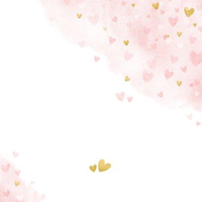 Kinderfeestje uitnodiging meisje met roze en gouden hartjes  Achterkant