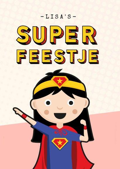 Kinderfeestje uitnodiging meisje superhelden feestje 2