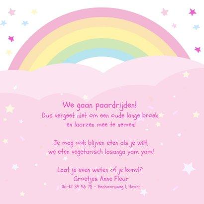 Kinderfeestje uitnodiging met eenhoorn voor  paardrijden 3