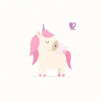 Kinderfeestje uitnodiging met foto, unicorn en vlinders 2