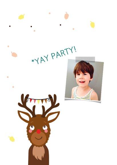 Kinderfeestje uitnodiging met jongen als rendier 2