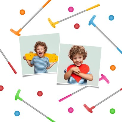Kinderfeestje uitnodiging minigolf vrolijk sport foto 2