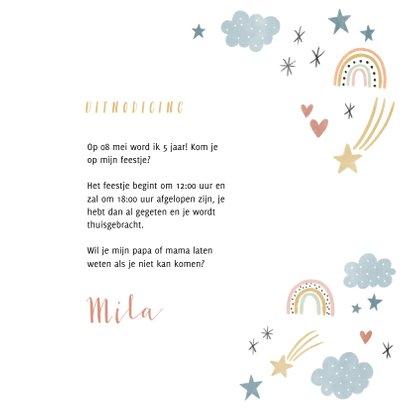 Kinderfeestje uitnodiging regenboogjes, sterretjes & hartjes 3