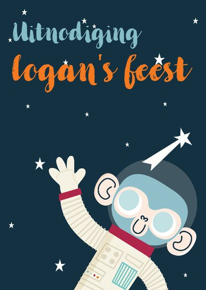 Kinderfeestje uitnodiging ruimte  met aap, raket en planeten 2