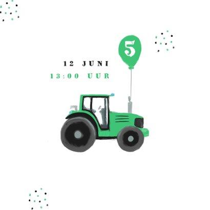 Kinderfeestje uitnodiging tractor hip confetti foto groen 2
