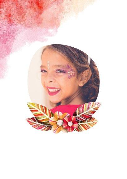 Kinderfeestje uitnodiging waterverf foto met bloemen 2