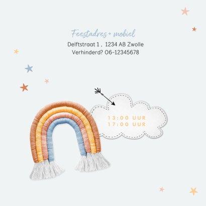 Kinderfeestje uitnodiging wolken regenboogjes sterren foto 2