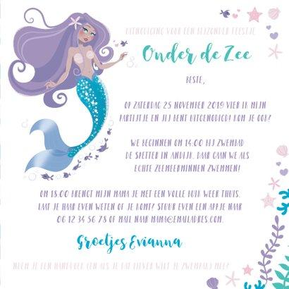 Kinderfeestje uitnodiging zeemeermin prinsessen zwemmen 3